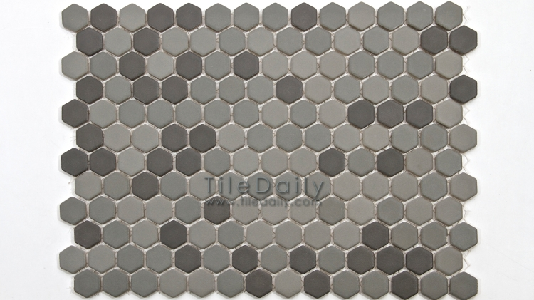 PM0032GY - Matte Hexagon Porcelain Mosaic, Grey