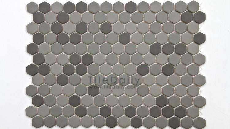 PM0032GY - Matte Hexagon Porcelain Mosaic, Grey