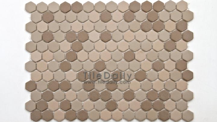 PM0032TE - Matte Hexagon Porcelain Mosaic, Taupe