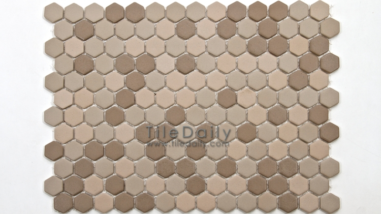 PM0032TE - Matte Hexagon Porcelain Mosaic, Taupe