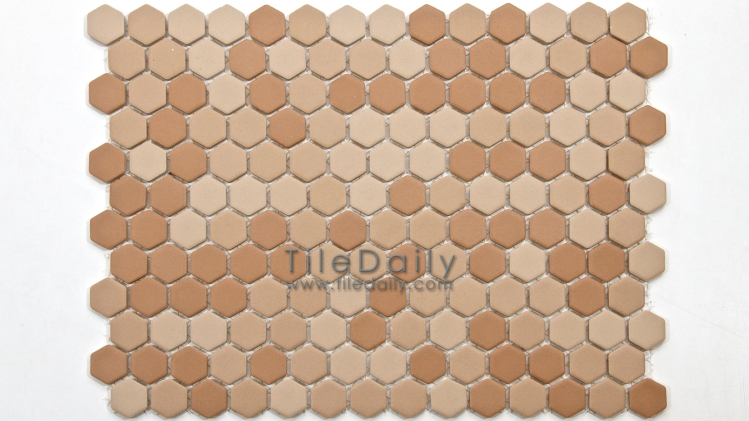PM0032BN - Matte Hexagon Porcelain Mosaic, Brown