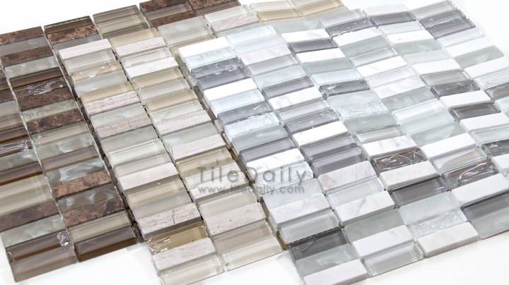 Craquelé Glass and Stone Mosaic, 3 Colors