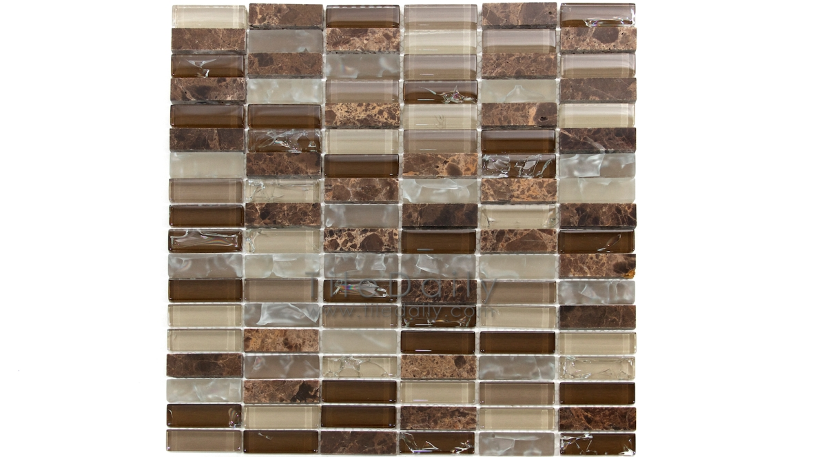 GM0106BN - Craquele Glass and Stone Mosaic, Brown Mix