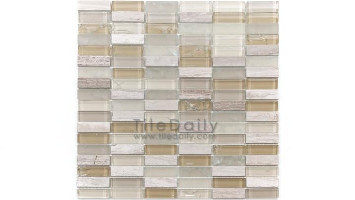GM0106BG- Craquele Glass and Stone Mosaic, Beige Mix