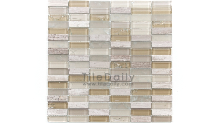 GM0106BG- Craquele Glass and Stone Mosaic, Beige Mix