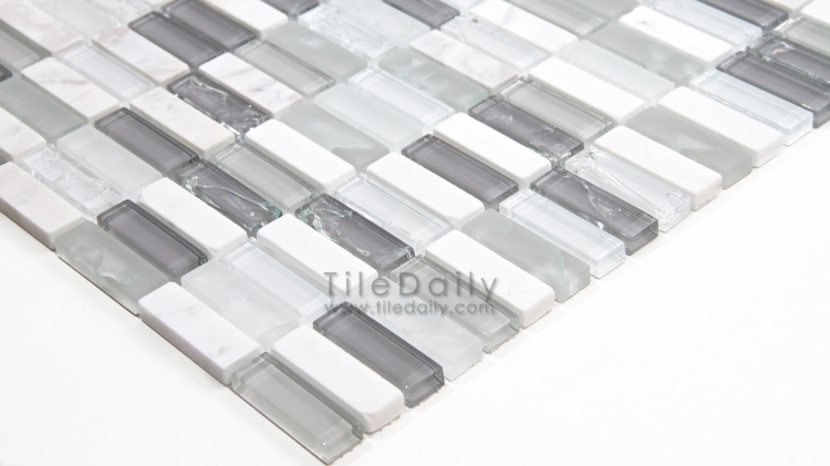 GM0106GY - Craquele Glass and Stone Mosaic, Grey Mix