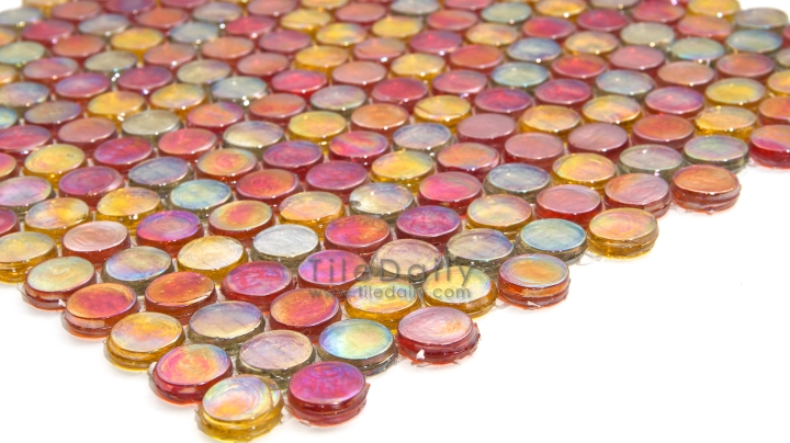 Fall Iridescent Penny Round Glass Mosaic