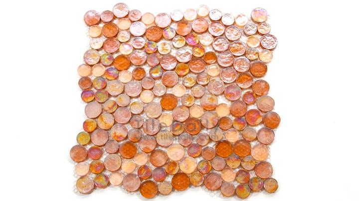 Random Iridescent Penny Round Mosaic