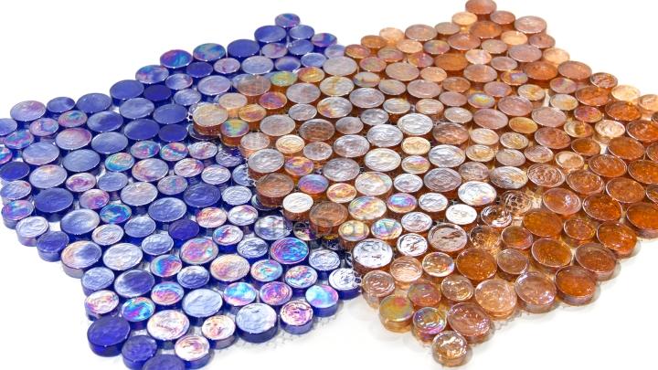 Random Iridescent Penny Round Mosaic –SALE