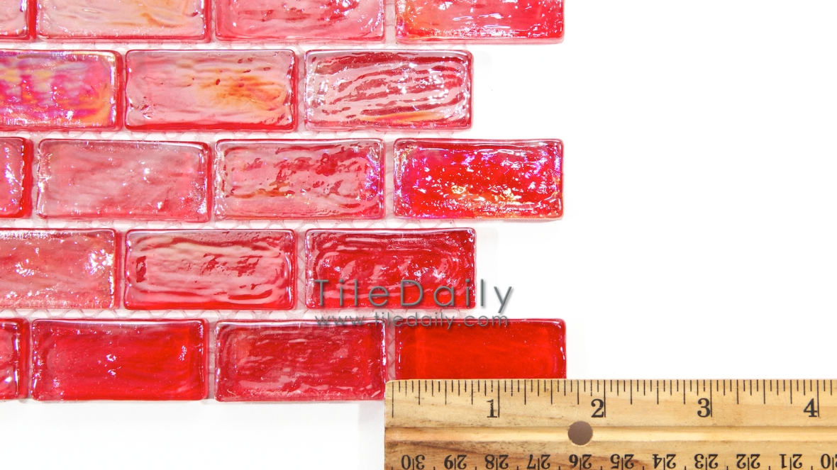 Red Iridescent Brick Glass Mosaic Tile at TileDaily