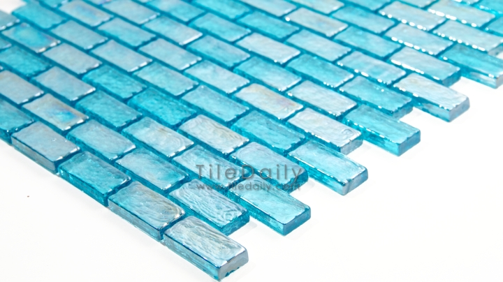 Turquoise Iridescent Brick Glass Mosaic