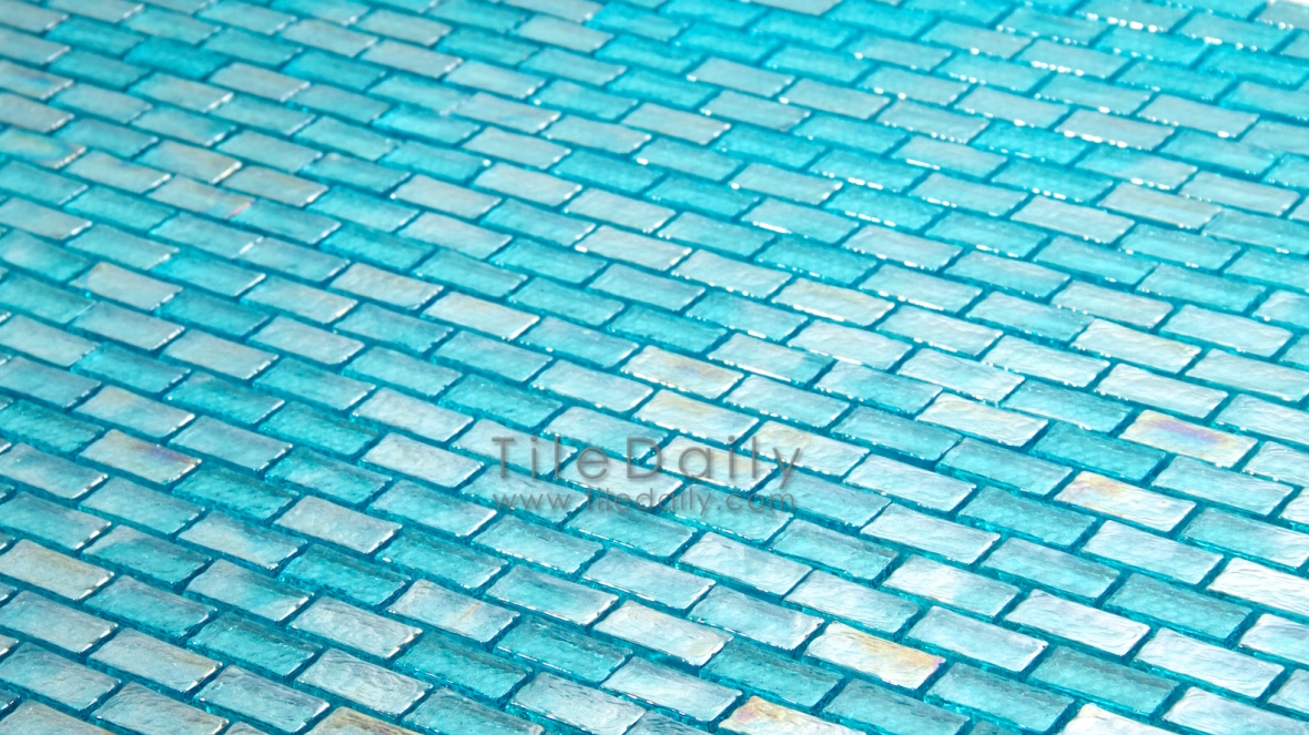 Turquoise Iridescent Glass Mosaic Tile at TileDaily