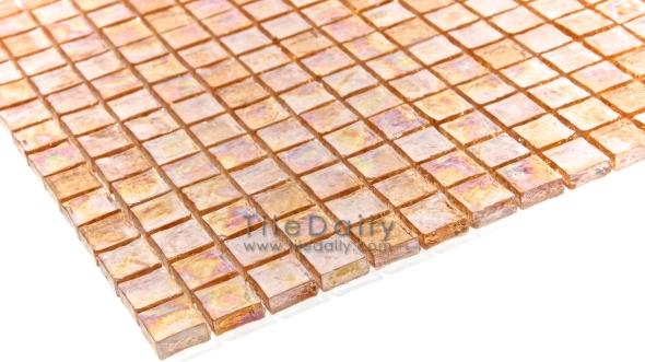 Peach Iridescent Square Glass Mosaic