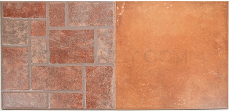 P0067 - Rojo Porcelain Tile with 12x12 Rojo Mosaic Pattern Tile