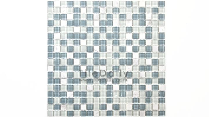 GM0109LBE - Small Square Glasstone Series, Blue Mix