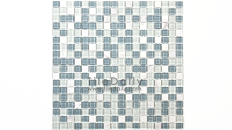 GM0109LBE - Small Square Glasstone Series, Blue Mix