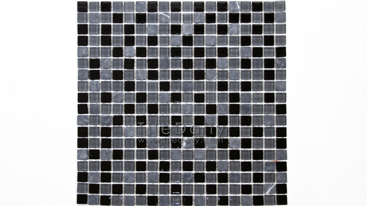 GM0109BK - Small Square Glasstone Series, Black Mix