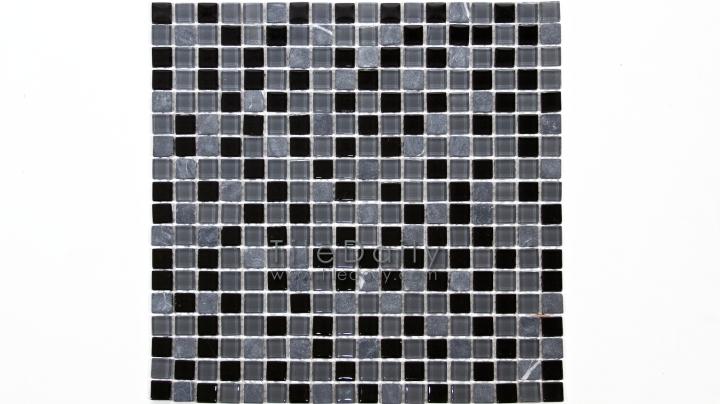 GM0109BK - Small Square Glasstone Series, Black Mix