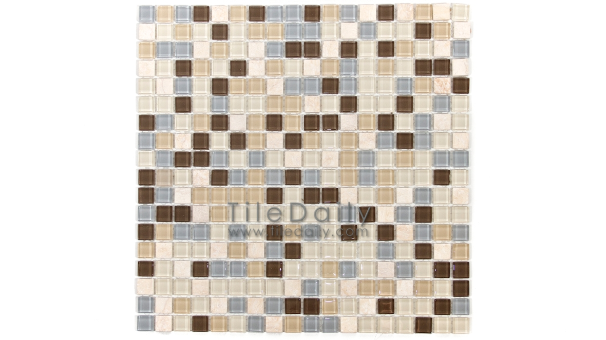 GM0109Mix - Small Square Glasstone Series Mix Colors, Light Grey, Light Beige, Brown, Cream