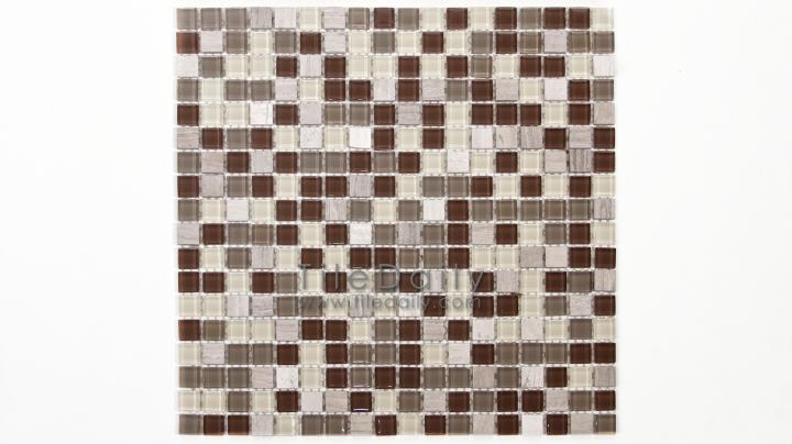 GM0109BN - Small Square Glasstone Series, Brown Mix