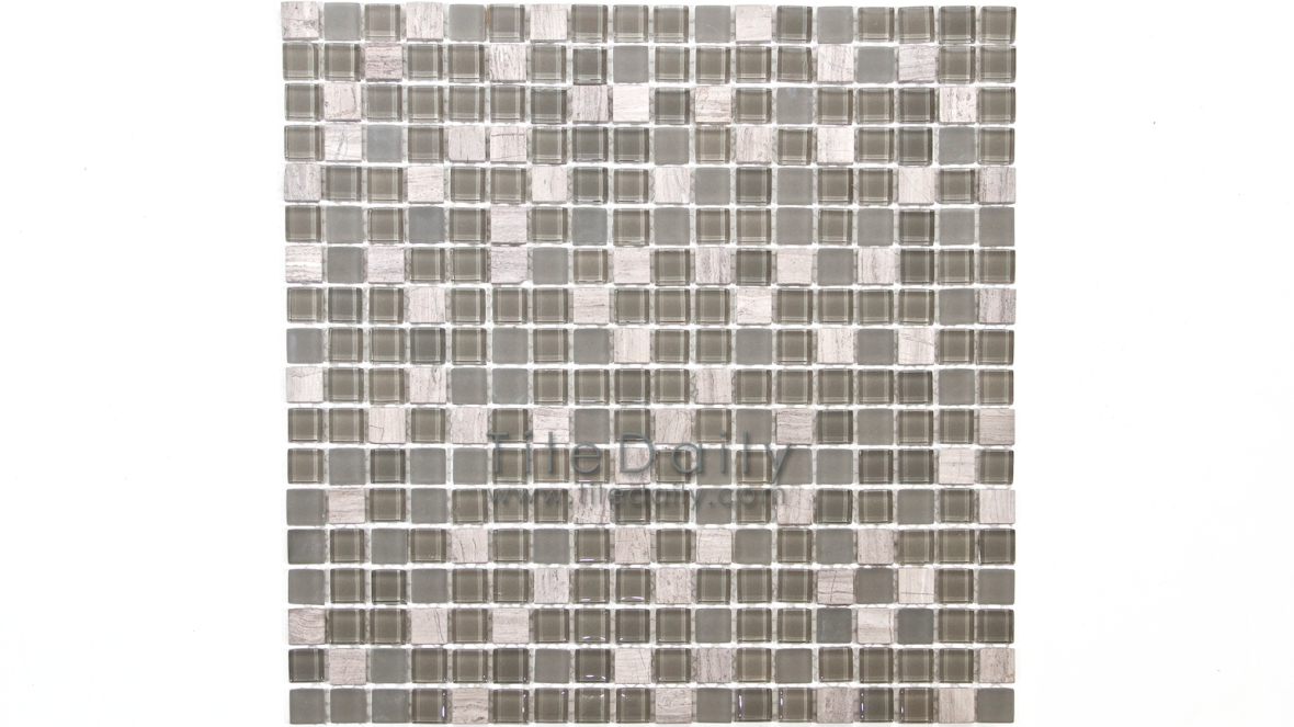 GM0109TE - Small Square Glasstone Series, Taupe Mix