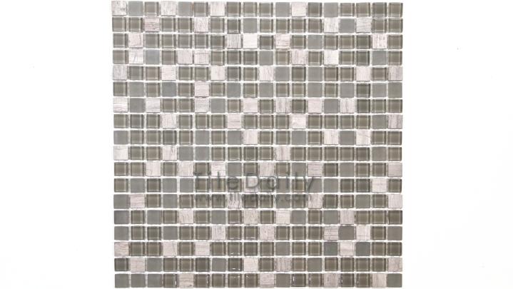 GM0109TE - Small Square Glasstone Series, Taupe Mix