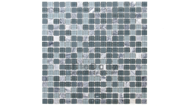 GM0109GY - Small Square Glasstone Series, Grey Mix