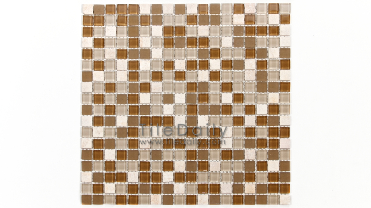 GM0109BG - Small Square Glasstone Series, Beige Mix
