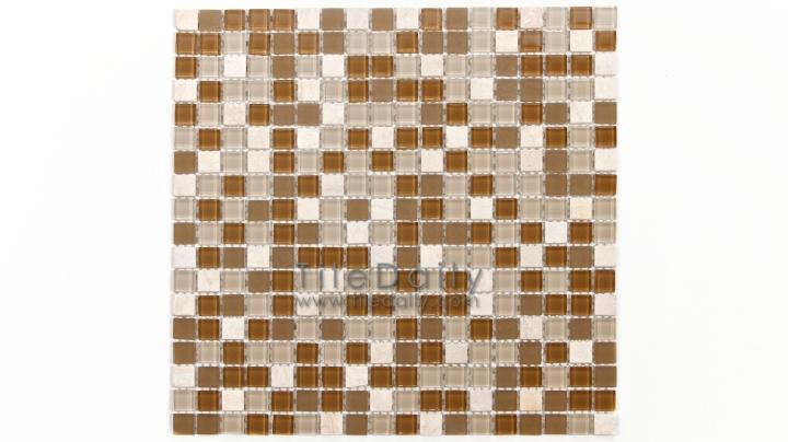 GM0109BG - Small Square Glasstone Series, Beige Mix