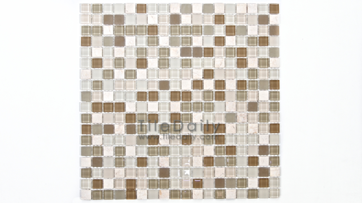 GM0109LBG - Small Square Glasstone Series, Light Beige Mix