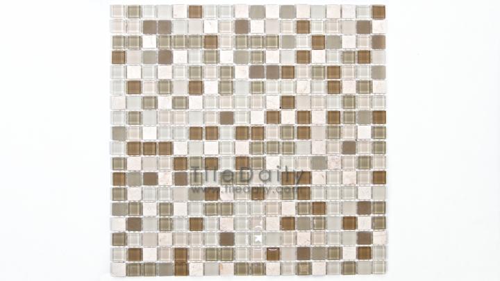 GM0109LBG - Small Square Glasstone Series, Light Beige Mix