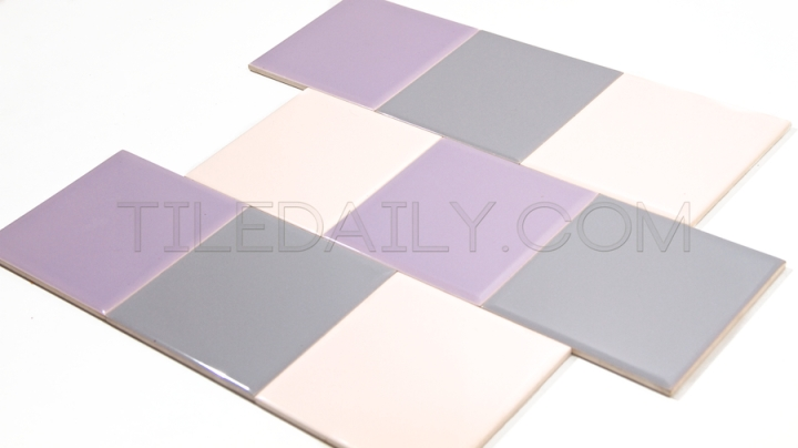 P0068 - Ceramic Wall Tile, 18 Colors Light Pink, Purple, Light Grey
