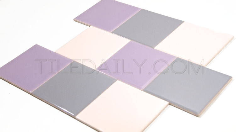 Vintage Ceramic Wall Tile for retro bathroom and kitchen Light Pink, Purple, Light Grey