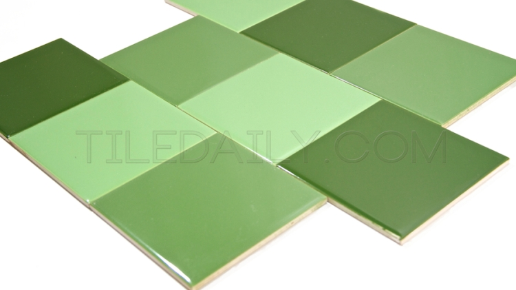 Vintage Ceramic Wall Tile for retro bathroom and kitchen Bright Green, Lime Green, Pepper Green