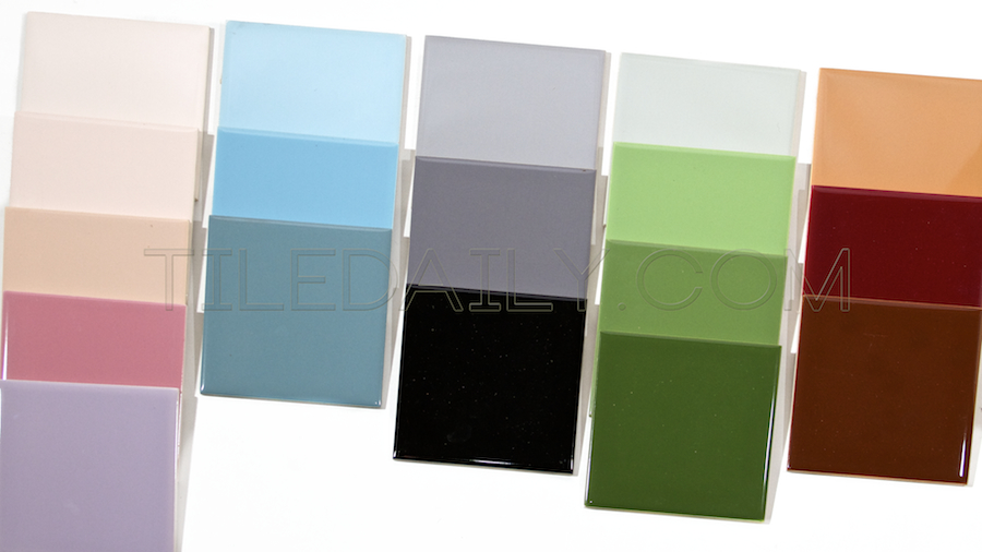 P0068 - Ceramic Wall Tile, 18 Colors. Colors: Light pink, Soft Pink, Country Pink, Vintage Pink, Light Blue, Sky Blue, Country Blue, Light Grey, Grey, Black, Sage Green, Bright Green, Lime Green, Pepper Green, Pale Orange, Burgundy and Brown