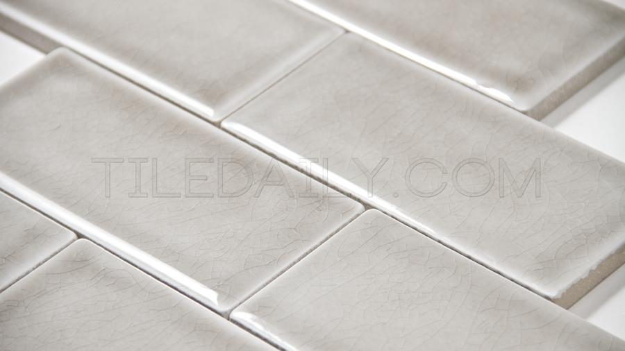 3x6 Crackle Subway Porcelain Tile, Grey