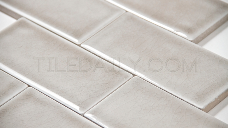 3x6 Crackle Subway Porcelain Tile, Grey
