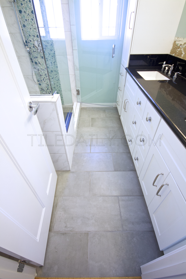 Cement Porcelain Tile - Bathroom Installation