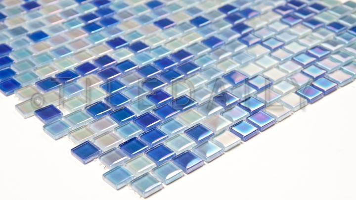 Iridescent Square Brick Glass Mosaic, Mix Blue