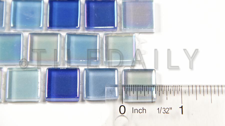 GM0112 - Iridescent Square Brick Glass Mosaic, Mix Blue