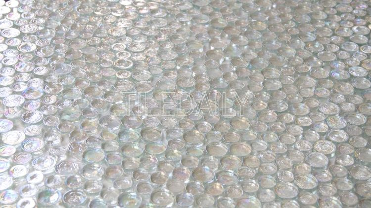 Random Iridescent Penny Round Clear White Tiledaily