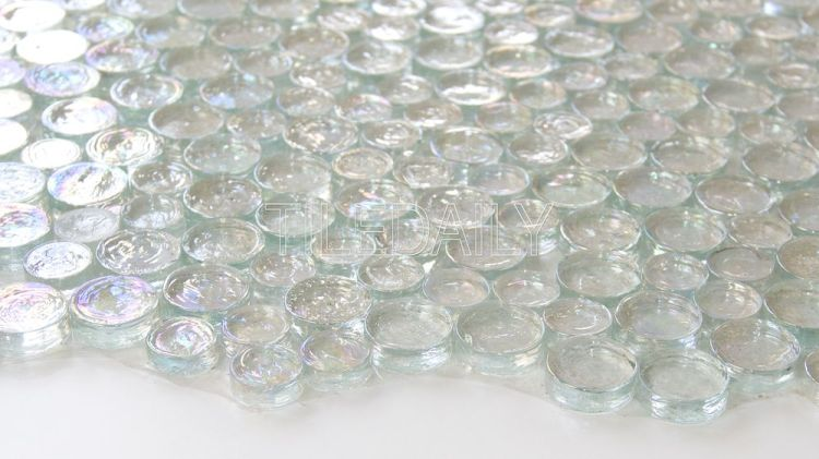 Iridescent Clear White Random Circles Glass Mosaic Tile