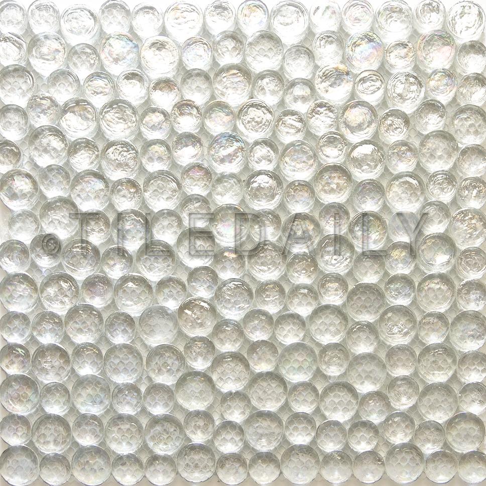 GM0108WE - Random Iridescent Penny Round Glass Mosaic, Clear White