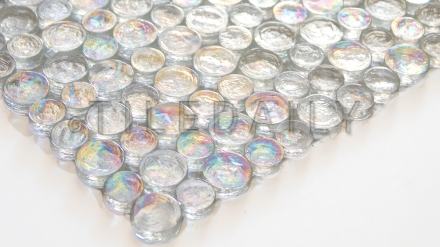 GM0108WE - Random Iridescent Penny Round Glass Mosaic, Clear White