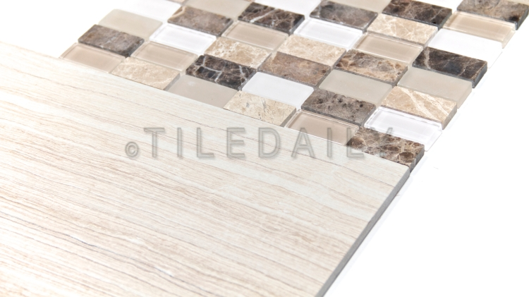 GM0022BN - 1x2 Emperador Marble and Glass Mosaic