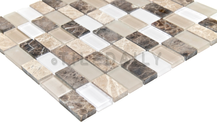 Emperador Marble and Glass Mosaic