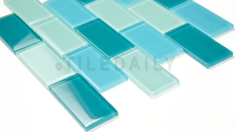 GM0049BE - 2x4 Glass Brick Mosaic, Mix Blue