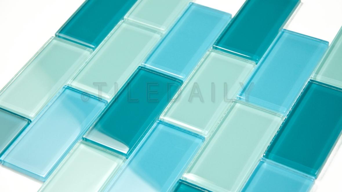 GM0049BE - 2x4 Glass Brick Mosaic, Mix Blue