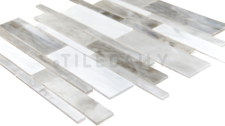 GM0117LGY - Milano Random Bars Glass Mosaic, Light Grey