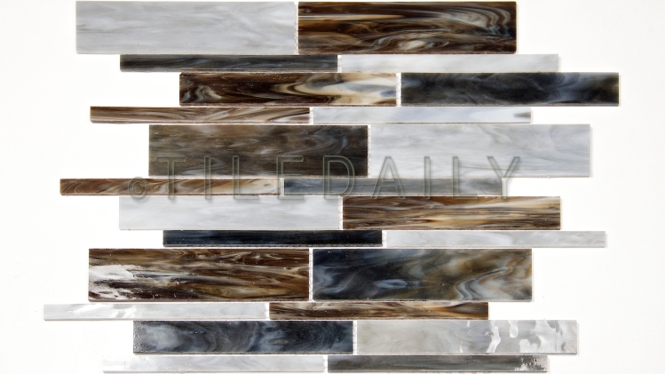 GM0117BE - Milano Random Bars Glass Mosaic, Mix Blue